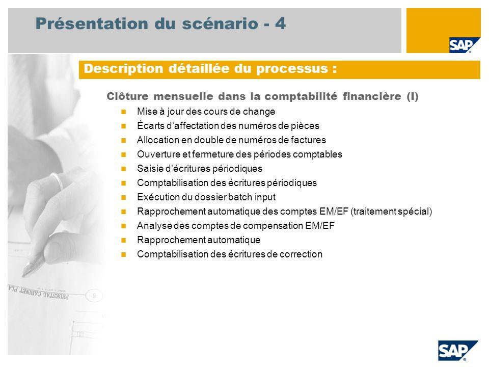 Présentation du scénario - 4 Clôture mensuelle dans la comptabilité financière (I) Mise à jour des cours de change Écarts daffectation des numéros de