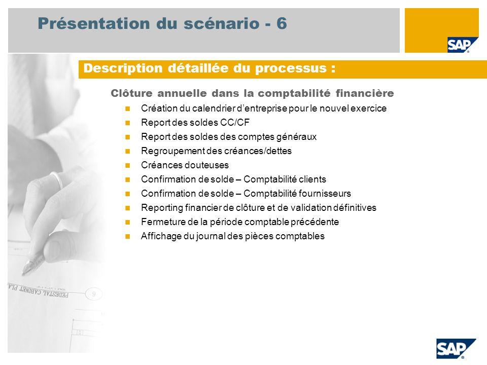 Présentation du scénario - 6 Clôture annuelle dans la comptabilité financière Création du calendrier dentreprise pour le nouvel exercice Report des so