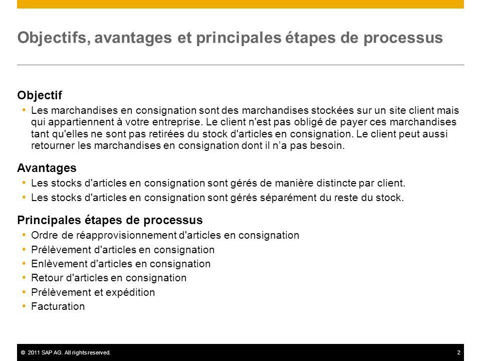©2011 SAP AG. All rights reserved.2 Objectifs, avantages et principales étapes de processus Objectif Les marchandises en consignation sont des marchan