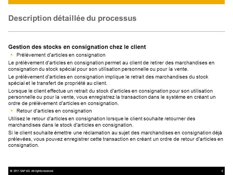©2011 SAP AG. All rights reserved.5 Description détaillée du processus Gestion des stocks en consignation chez le client Prélèvement d'articles en con