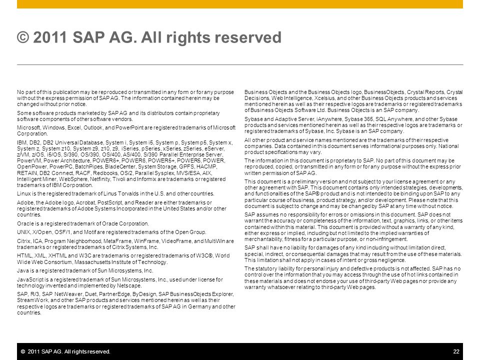 ©2011 SAP AG. All rights reserved.22 No part of this publication may be reproduced or transmitted in any form or for any purpose without the express p