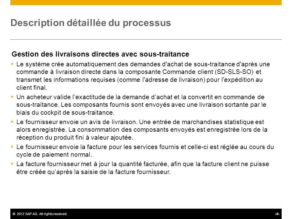 ©2012 SAP AG. All rights reserved.# Description détaillée du processus Gestion des livraisons directes avec sous-traitance Le système crée automatique