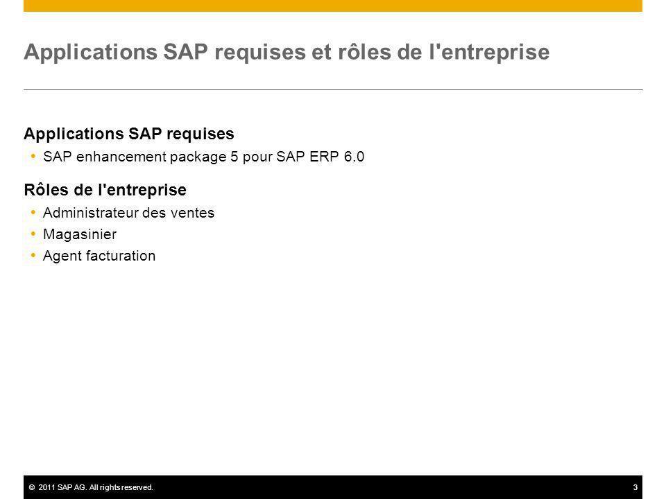 ©2011 SAP AG. All rights reserved.3 Applications SAP requises et rôles de l'entreprise Applications SAP requises SAP enhancement package 5 pour SAP ER