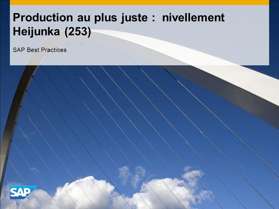 Production au plus juste : nivellement Heijunka (253) SAP Best Practices