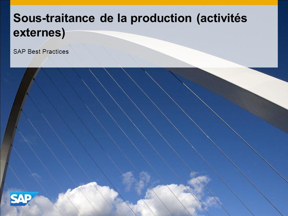 Sous-traitance de la production (activités externes) SAP Best Practices