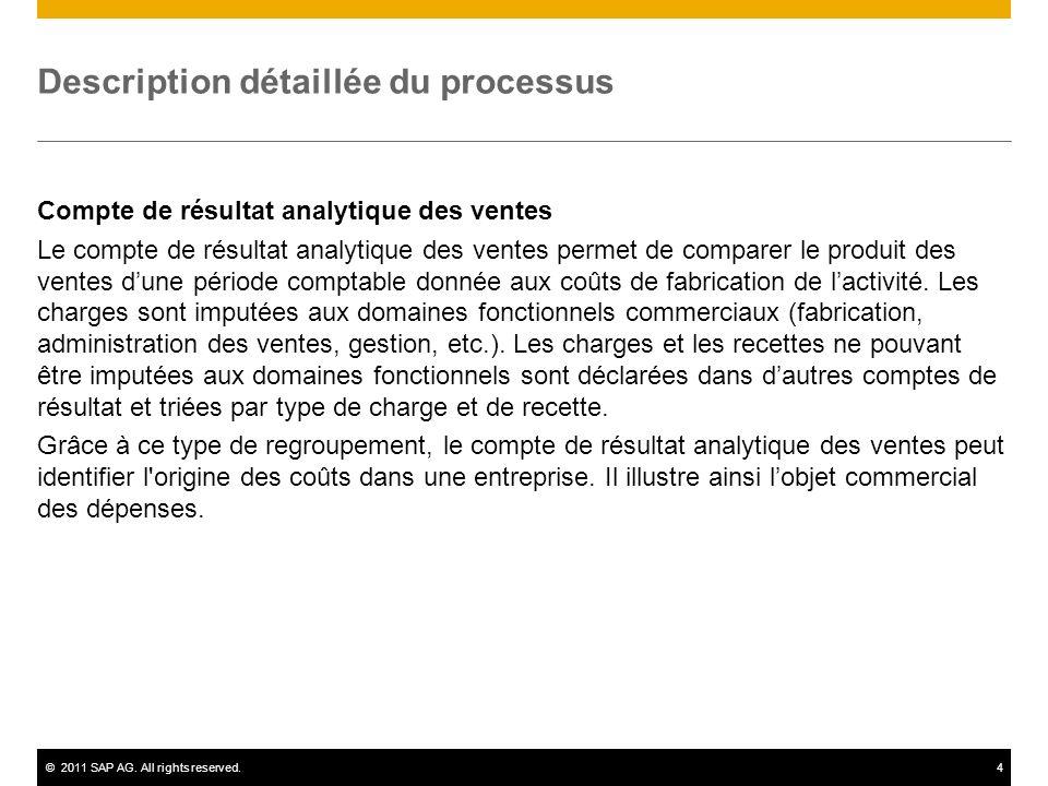 ©2011 SAP AG. All rights reserved.4 Description détaillée du processus Compte de résultat analytique des ventes Le compte de résultat analytique des v
