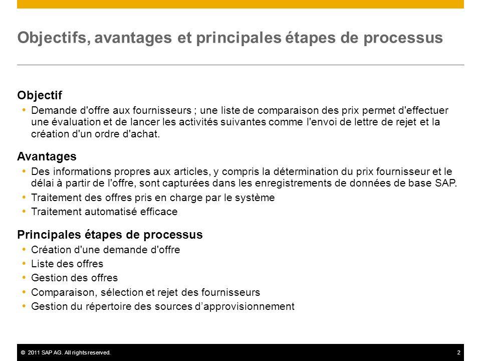 ©2011 SAP AG. All rights reserved.2 Objectifs, avantages et principales étapes de processus Objectif Demande d'offre aux fournisseurs ; une liste de c