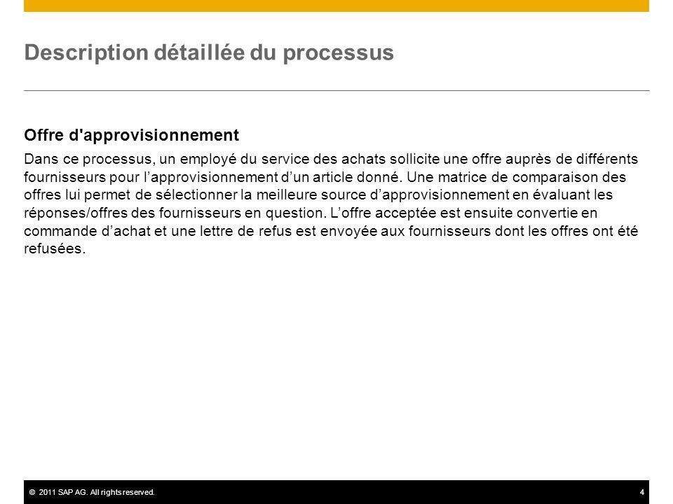 ©2011 SAP AG. All rights reserved.4 Description détaillée du processus Offre d'approvisionnement Dans ce processus, un employé du service des achats s