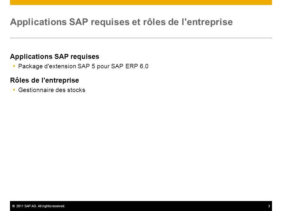 ©2011 SAP AG. All rights reserved.3 Applications SAP requises et rôles de l'entreprise Applications SAP requises Package d'extension SAP 5 pour SAP ER