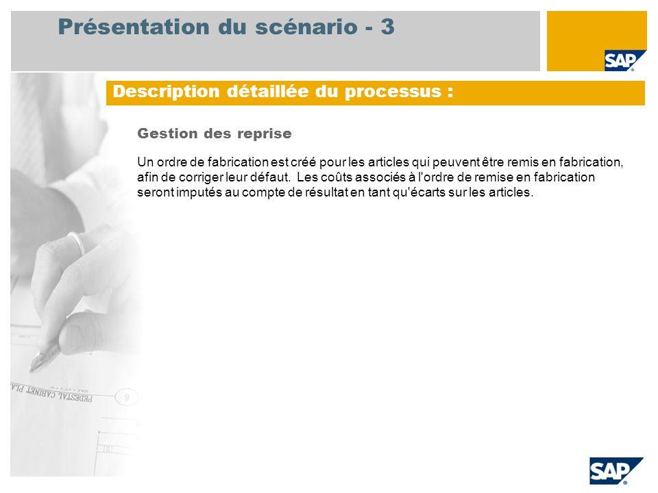 Présentation du scénario - 3 Gestion des reprise Un ordre de fabrication est créé pour les articles qui peuvent être remis en fabrication, afin de cor