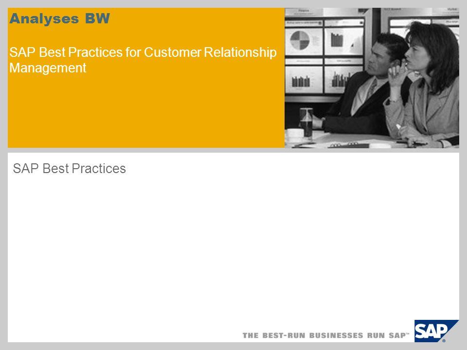 Présentation du scénario – 1 Objectifs Ce scénario indique comment configurer le système SAP NetWeaver BW pour analyser les données de SAP CRM.