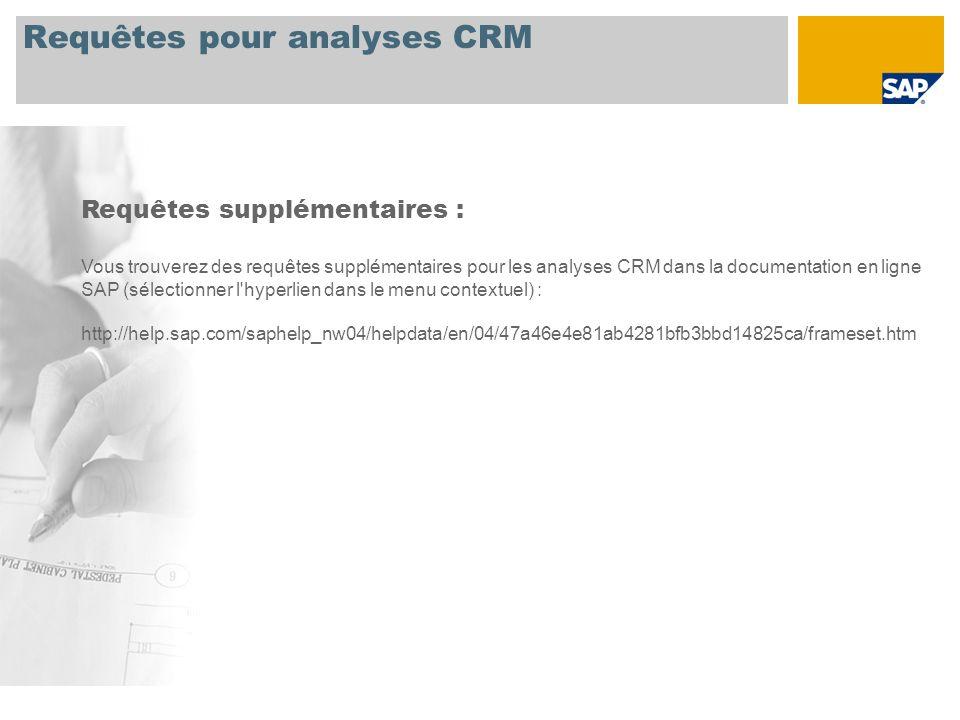 Requêtes pour analyses CRM Requêtes supplémentaires : Vous trouverez des requêtes supplémentaires pour les analyses CRM dans la documentation en ligne