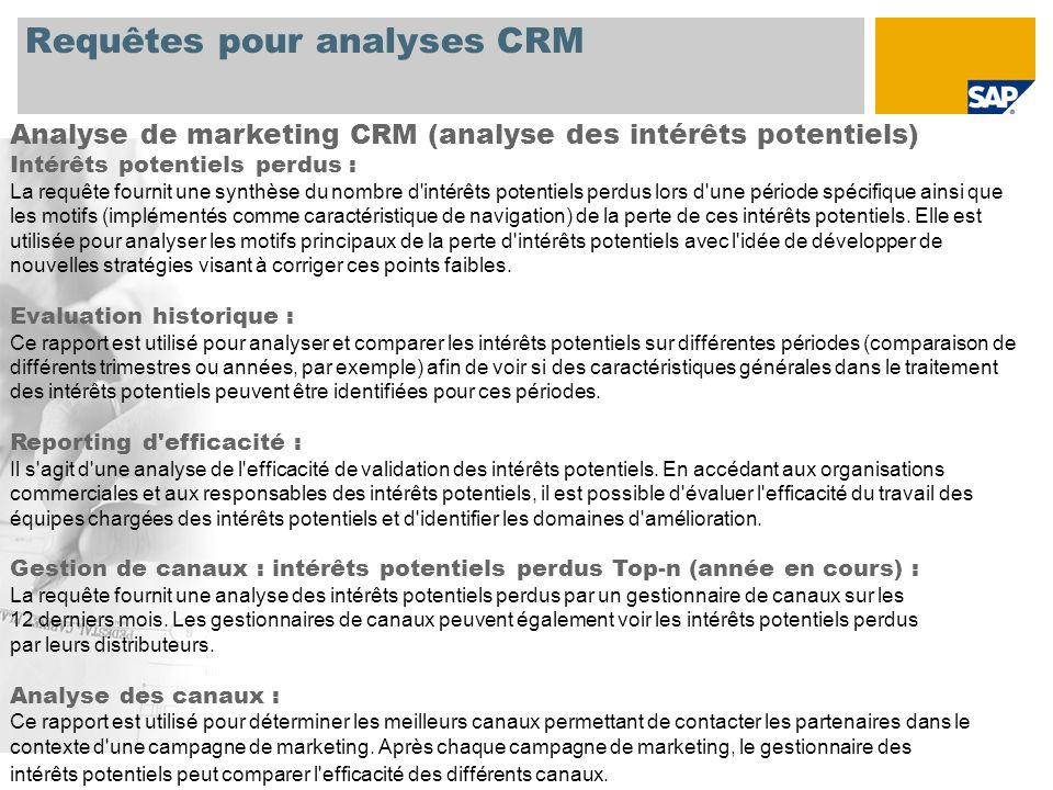 Requêtes pour analyses CRM Analyse de marketing CRM (analyse des intérêts potentiels) Intérêts potentiels perdus : La requête fournit une synthèse du