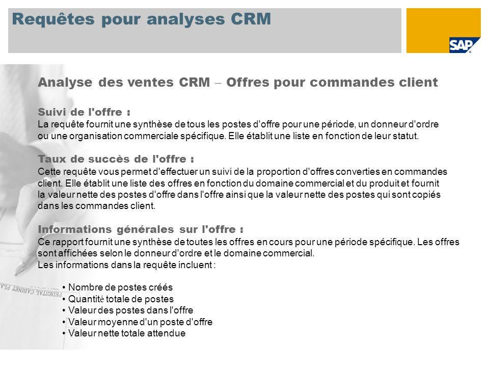 Requêtes pour analyses CRM Analyse des ventes CRM – Offres pour commandes client Suivi de l'offre : La requête fournit une synthèse de tous les postes