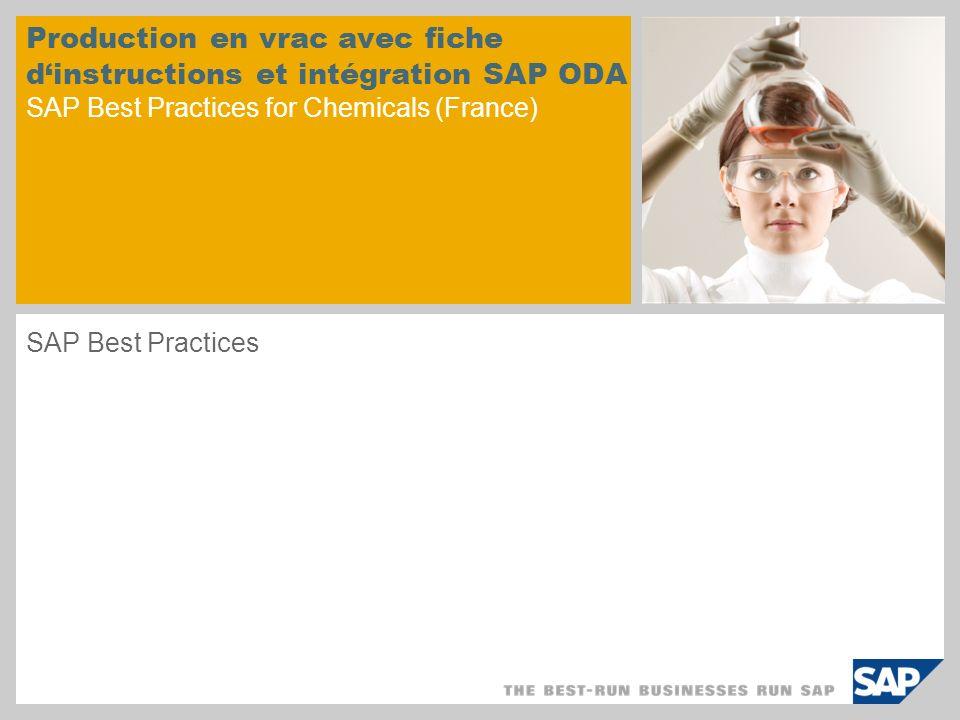 © SAP 2008 / Page 2 Objectif Ce document concerne la fabrication de produits en vrac (produits en cuves ou en silos) dans l industrie chimique.
