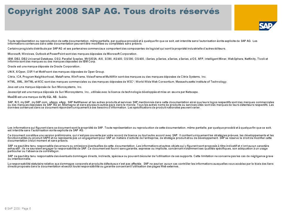 © SAP 2008 / Page 6 Copyright 2008 SAP AG. Tous droits réservés Toute représentation ou reproduction de cette documentation, même partielle, par quelq