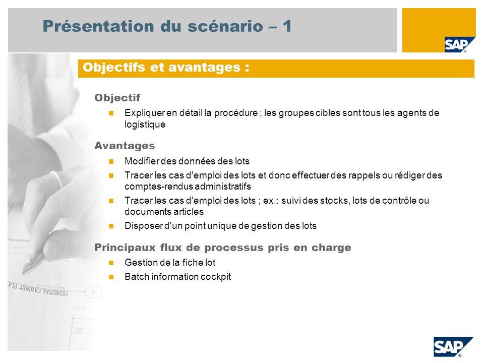 Présentation du scénario – 1 Objectif Expliquer en détail la procédure ; les groupes cibles sont tous les agents de logistique Avantages Modifier des