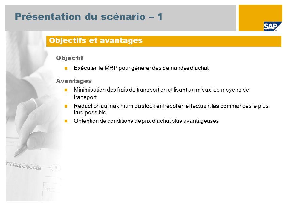 Présentation du scénario – 1 Objectif Exécuter le MRP pour générer des demandes d achat Avantages Minimisation des frais de transport en utilisant au mieux les moyens de transport.