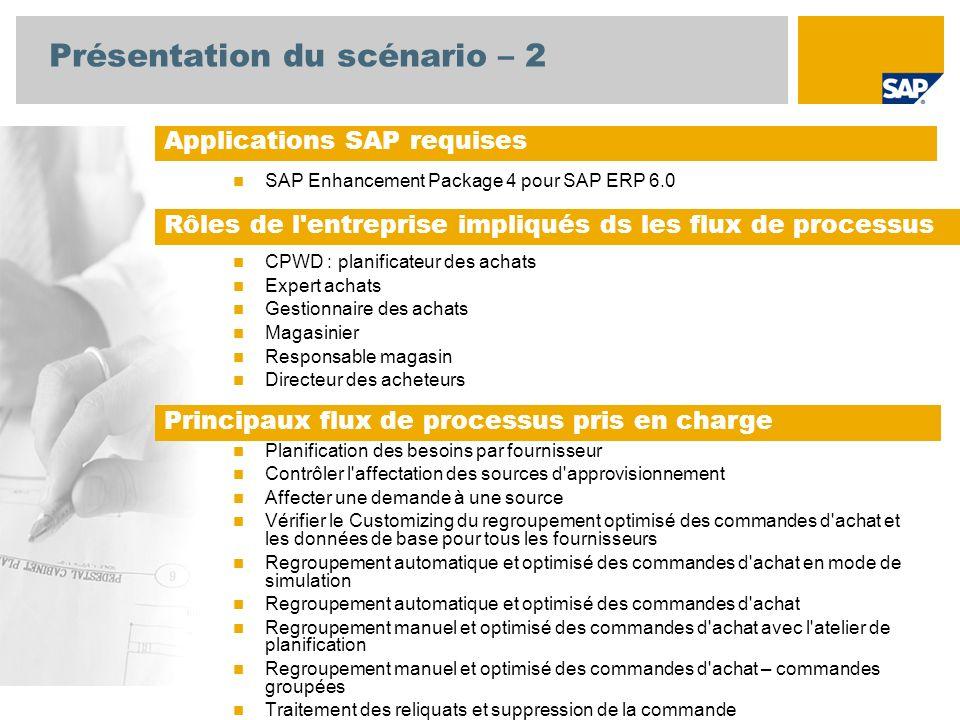 Présentation du scénario – 2 SAP Enhancement Package 4 pour SAP ERP 6.0 CPWD : planificateur des achats Expert achats Gestionnaire des achats Magasinier Responsable magasin Directeur des acheteurs Planification des besoins par fournisseur Contrôler l affectation des sources d approvisionnement Affecter une demande à une source Vérifier le Customizing du regroupement optimisé des commandes d achat et les données de base pour tous les fournisseurs Regroupement automatique et optimisé des commandes d achat en mode de simulation Regroupement automatique et optimisé des commandes d achat Regroupement manuel et optimisé des commandes d achat avec l atelier de planification Regroupement manuel et optimisé des commandes d achat – commandes groupées Traitement des reliquats et suppression de la commande Applications SAP requises Rôles de l entreprise impliqués ds les flux de processus Principaux flux de processus pris en charge