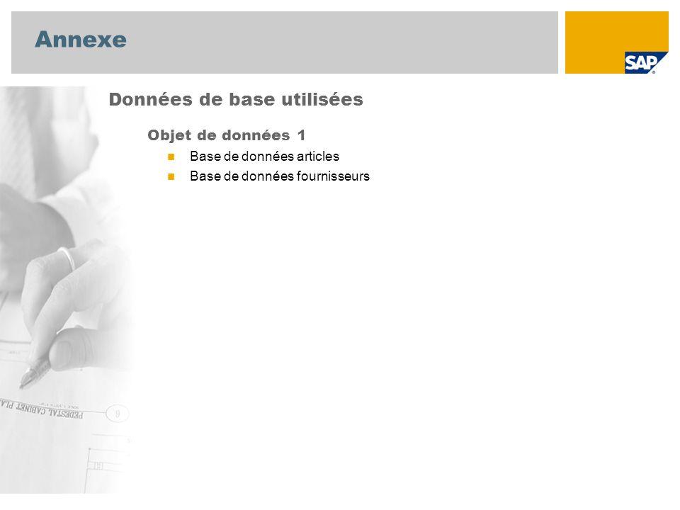 Annexe Objet de données 1 Base de données articles Base de données fournisseurs Données de base utilisées