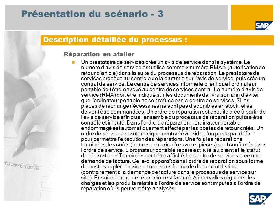 Présentation du scénario - 3 Réparation en atelier Un prestataire de services crée un avis de service dans le système. Le numéro davis de service est