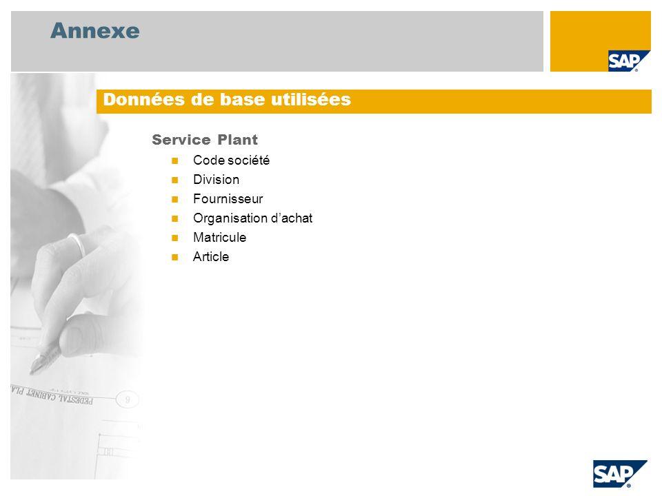 Annexe Service Plant Code société Division Fournisseur Organisation dachat Matricule Article Données de base utilisées