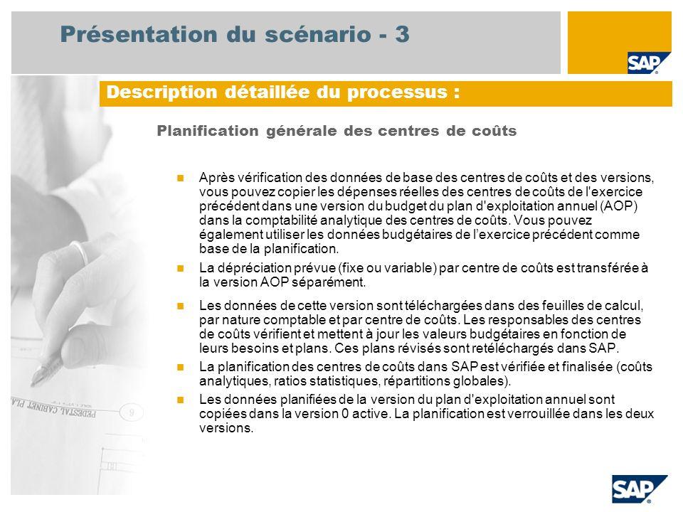 Présentation du scénario - 3 Planification générale des centres de coûts Après vérification des données de base des centres de coûts et des versions,