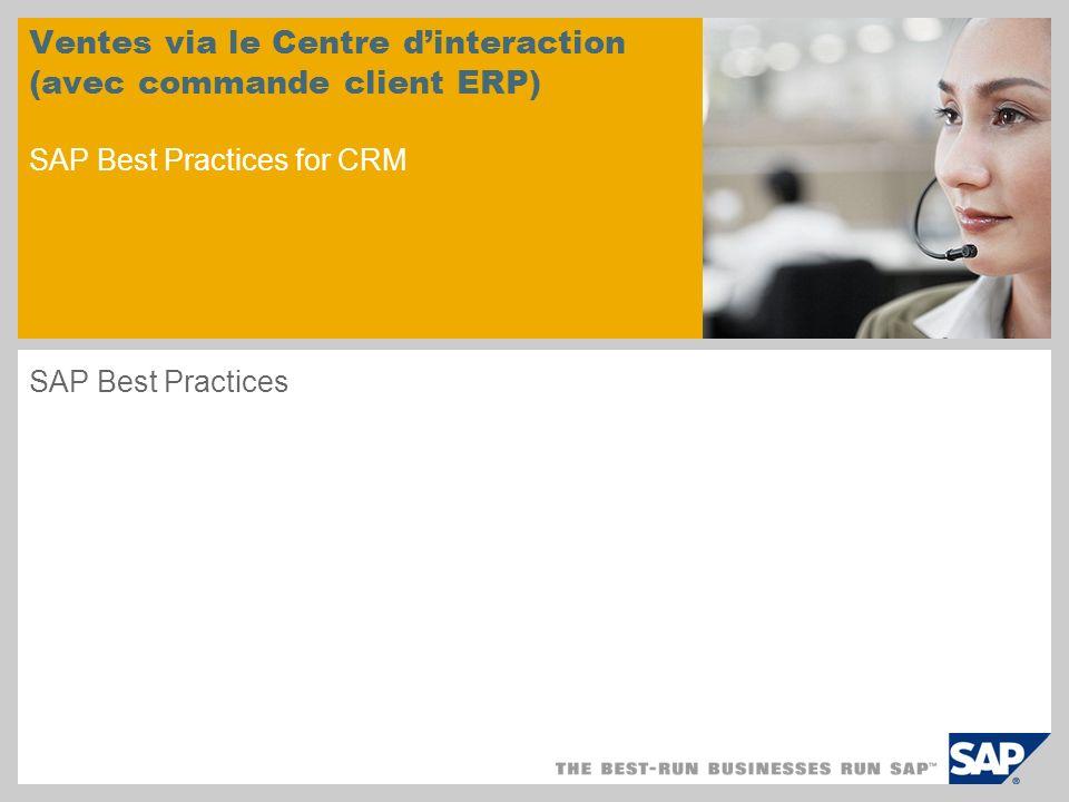 Ventes via le Centre dinteraction (avec commande client ERP) SAP Best Practices for CRM SAP Best Practices