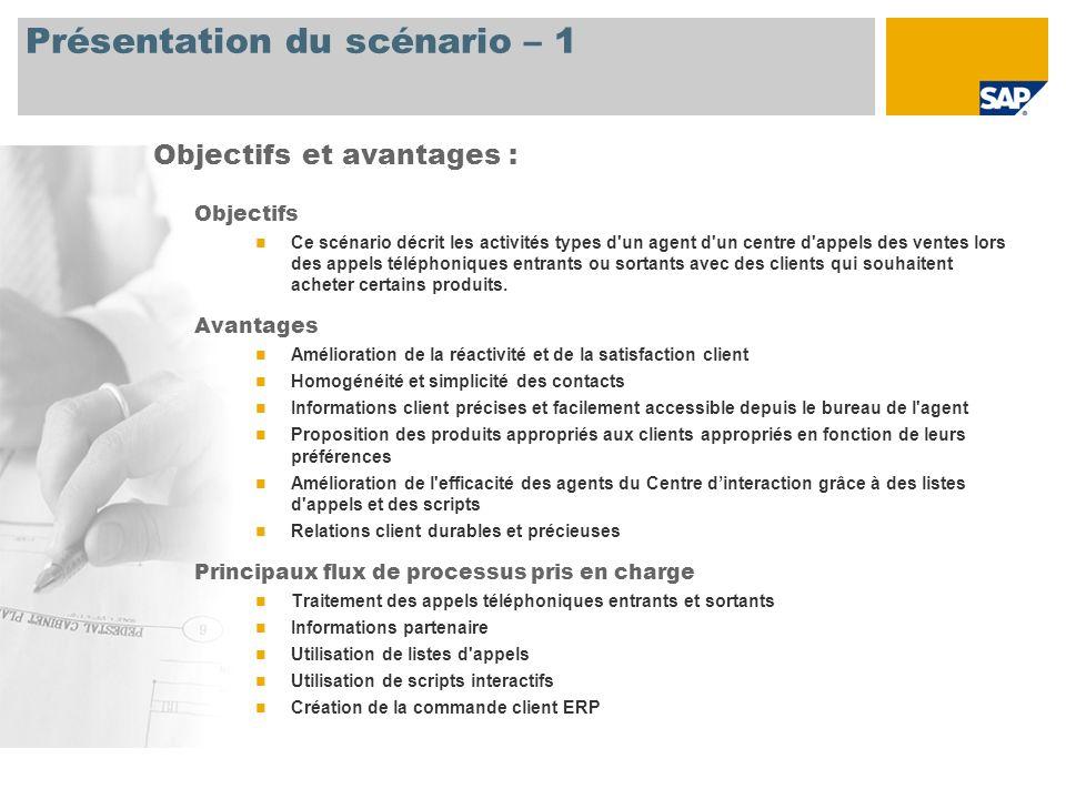 Présentation du scénario – 2 Obligatoire SAP CRM 2007 Rôles utilisateur impliqués dans les flux de processus Agent commercial du Centre dinteraction Directeur du Centre dinteraction Applications SAP requises :