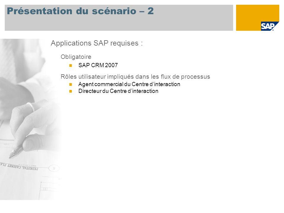 Présentation du scénario – 2 Obligatoire SAP CRM 2007 Rôles utilisateur impliqués dans les flux de processus Agent commercial du Centre dinteraction D