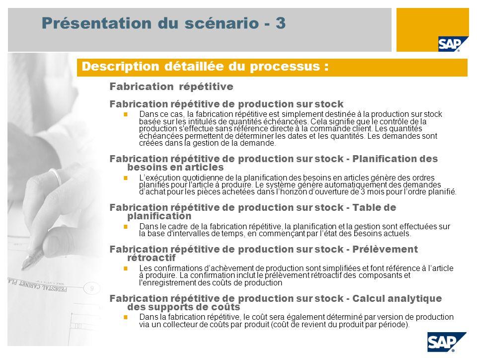 Diagramme de flux de processus Fabrication répétitive Strategic Planner Production Planner Plant Controller Événement Manufacturing MRP opérationnel Début du cycle de planification Liste de retraitement ///Consommatio n de stock à coût standard CO-PA = Compte de résultat, MRP = Planification des besoins en articles, SM/EM = Sortie de marchandises / Entrée de marchandises Révision budgétaire périodique Processus de fin Planification de la logistique (144) Clôture de période « générale » pour la division Comptabilité financière (181) Table de planification Mise à disposition d articles Prélèvement rétroactif pour fabrication répétitive Liste de post- traitement Bon de SM/EM Liste de prélèvements ///Entrée de stock à coût standard ///Code plan dem.