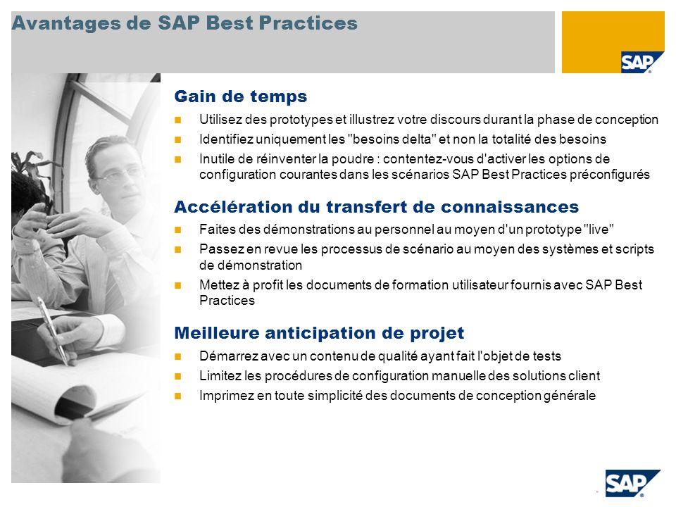 Avantages de SAP Best Practices Gain de temps Utilisez des prototypes et illustrez votre discours durant la phase de conception Identifiez uniquement