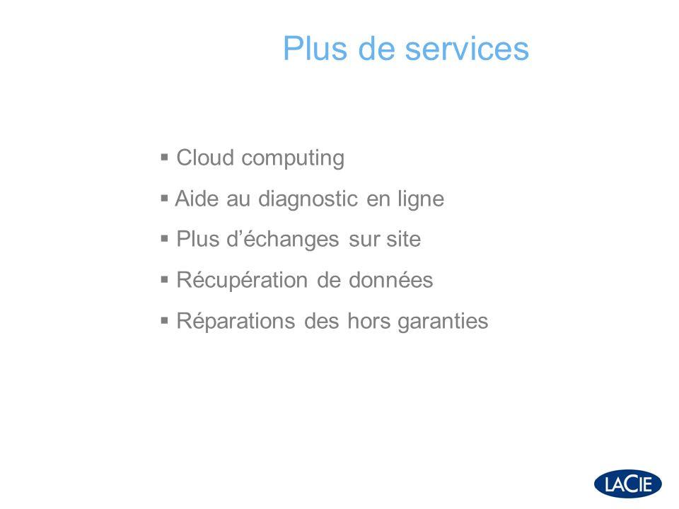 Plus de services Cloud computing Aide au diagnostic en ligne Plus déchanges sur site Récupération de données Réparations des hors garanties