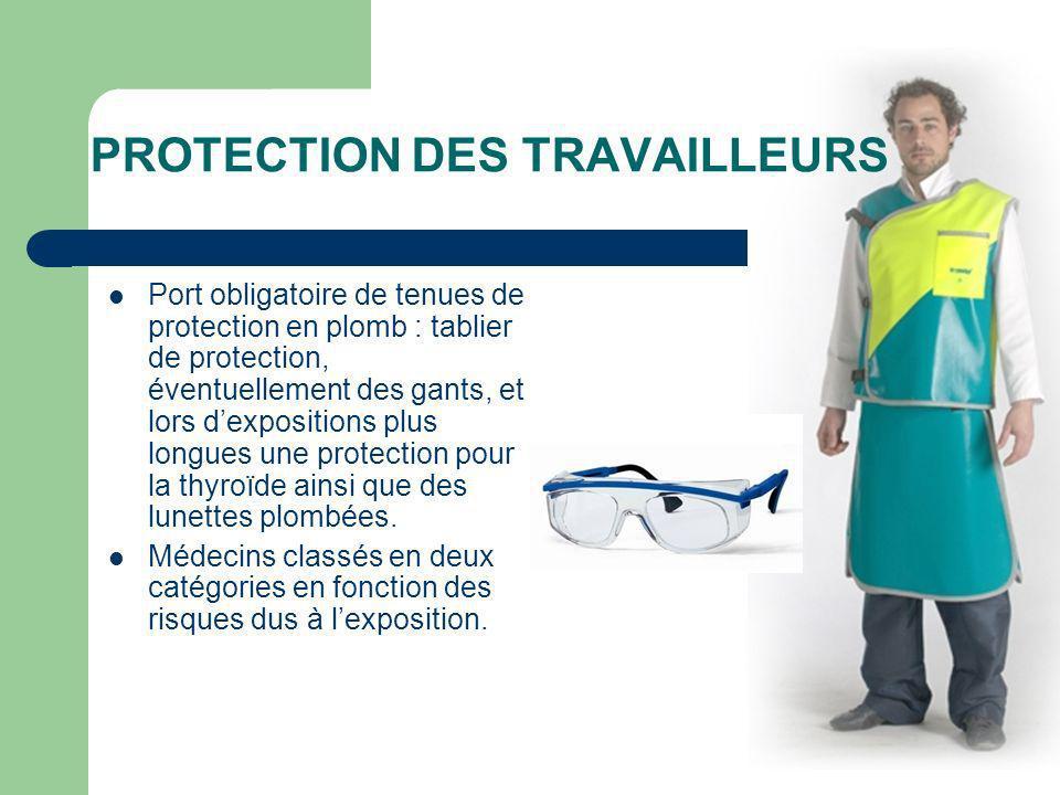 PROTECTION DES TRAVAILLEURS Port obligatoire de tenues de protection en plomb : tablier de protection, éventuellement des gants, et lors dexpositions