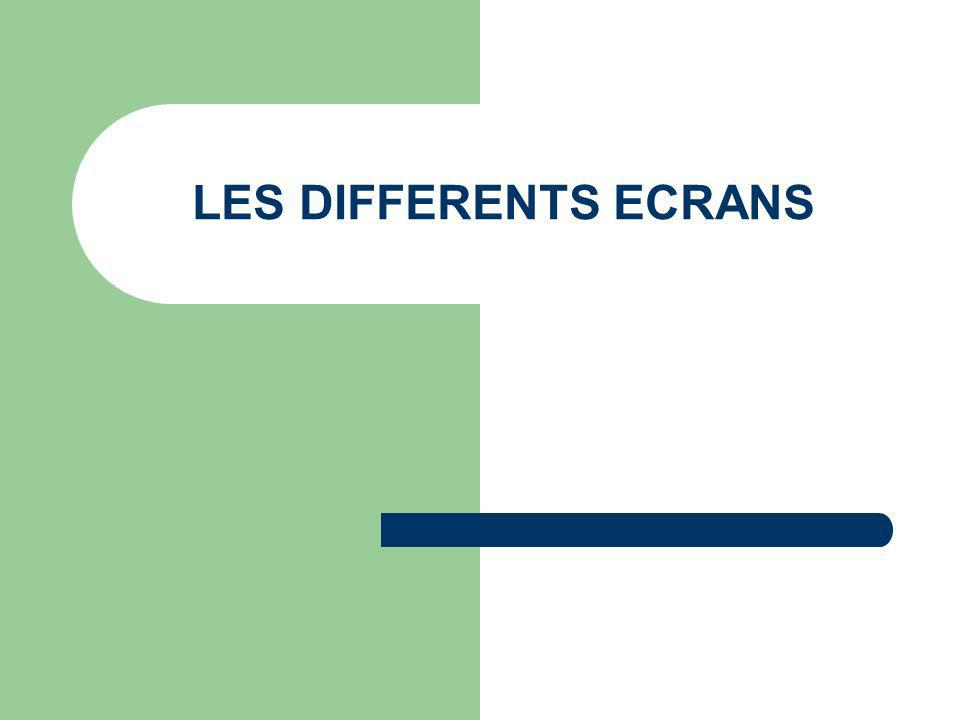 LES DIFFERENTS ECRANS