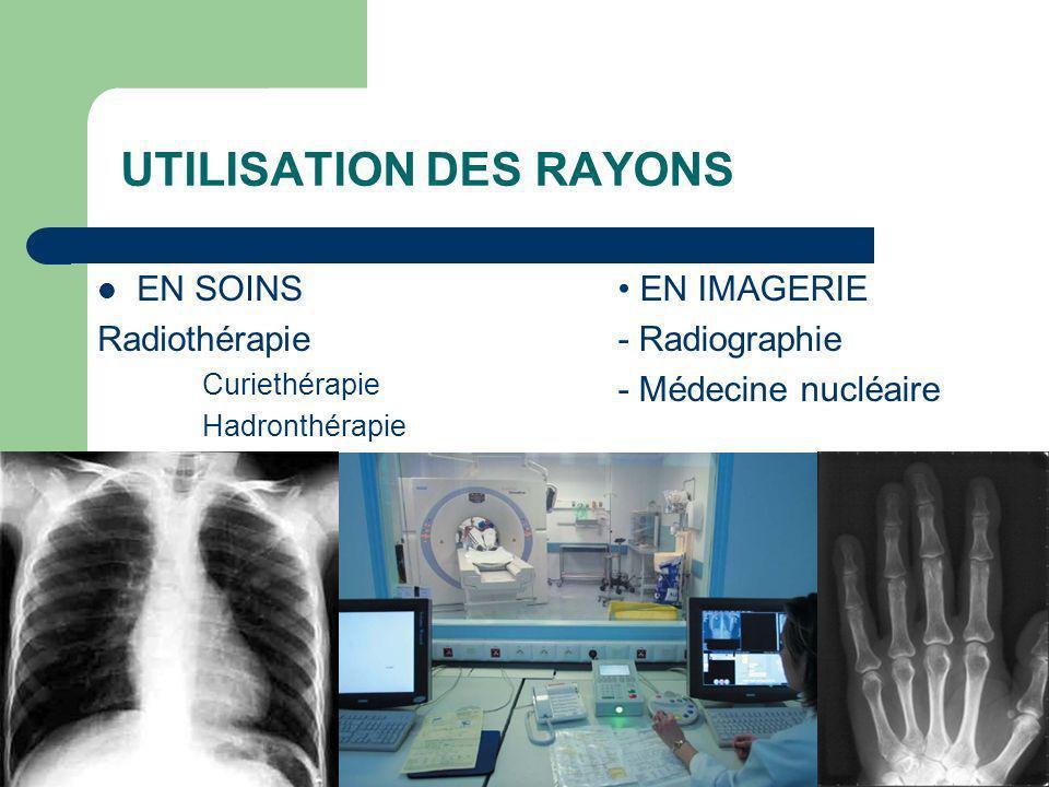 UTILISATION DES RAYONS EN SOINS Radiothérapie Curiethérapie Hadronthérapie EN IMAGERIE - Radiographie - Médecine nucléaire
