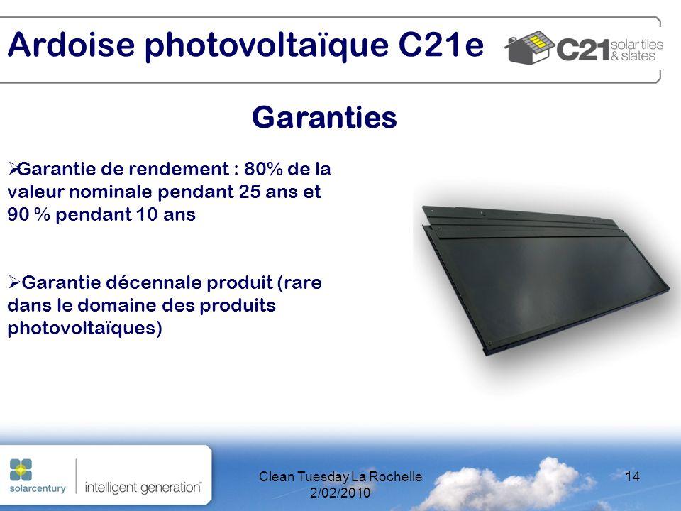 Clean Tuesday La Rochelle 2/02/2010 14 Garanties Ardoise photovoltaïque C21e Garantie de rendement : 80% de la valeur nominale pendant 25 ans et 90 % pendant 10 ans Garantie décennale produit (rare dans le domaine des produits photovoltaïques)