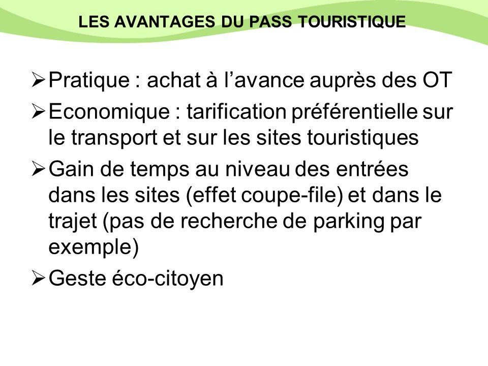 LES AVANTAGES DU PASS TOURISTIQUE Pratique : achat à lavance auprès des OT Economique : tarification préférentielle sur le transport et sur les sites