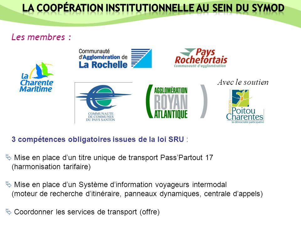 Les membres : 3 compétences obligatoires issues de la loi SRU : Mise en place dun titre unique de transport PassPartout 17 (harmonisation tarifaire) M