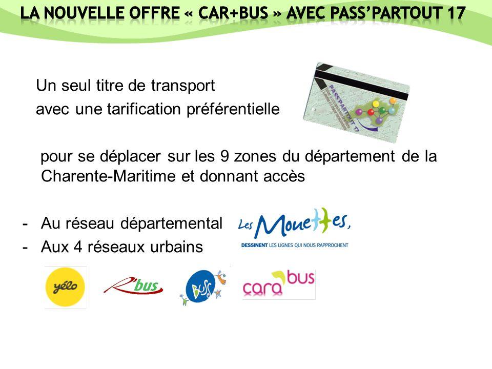 Un seul titre de transport avec une tarification préférentielle pour se déplacer sur les 9 zones du département de la Charente-Maritime et donnant accès -Au réseau départemental -Aux 4 réseaux urbains