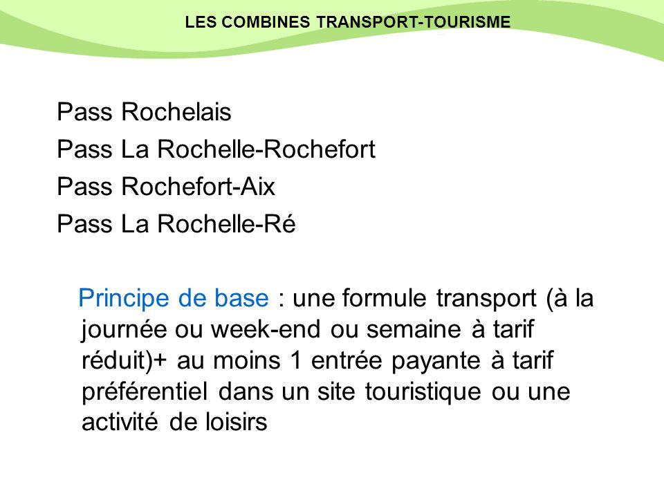 Pass Rochelais Pass La Rochelle-Rochefort Pass Rochefort-Aix Pass La Rochelle-Ré Principe de base : une formule transport (à la journée ou week-end ou semaine à tarif réduit)+ au moins 1 entrée payante à tarif préférentiel dans un site touristique ou une activité de loisirs Les combinés transport/tourisme LES COMBINES TRANSPORT-TOURISME