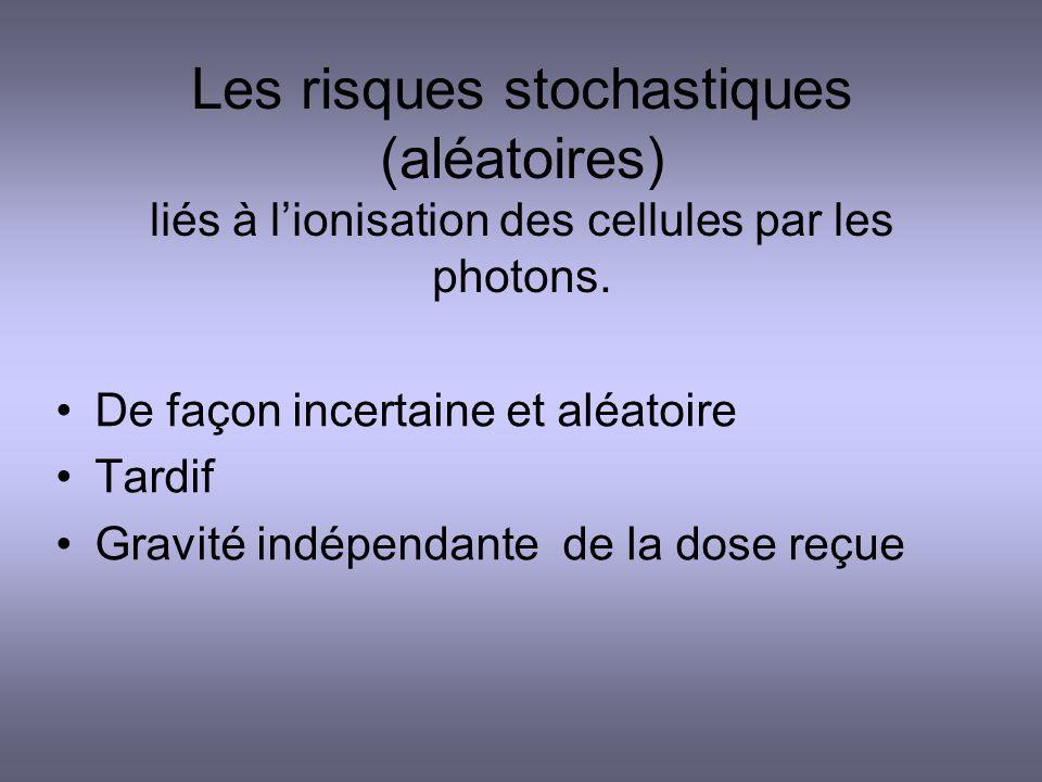 Les risques stochastiques (aléatoires) liés à lionisation des cellules par les photons. De façon incertaine et aléatoire Tardif Gravité indépendante d