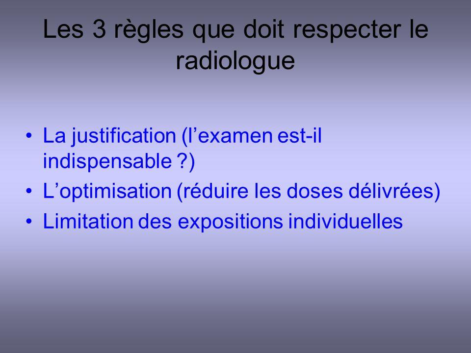 Les 3 règles que doit respecter le radiologue La justification (lexamen est-il indispensable ?) Loptimisation (réduire les doses délivrées) Limitation