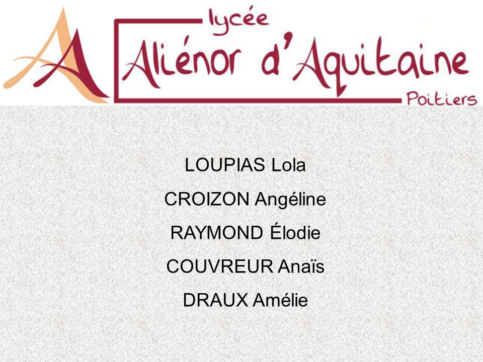 LOUPIAS Lola CROIZON Angéline RAYMOND Élodie COUVREUR Anaïs DRAUX Amélie