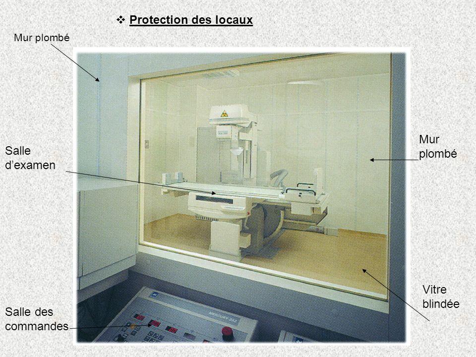 Protection des locaux Mur plombé Salle dexamen Mur plombé Vitre blindée Salle des commandes