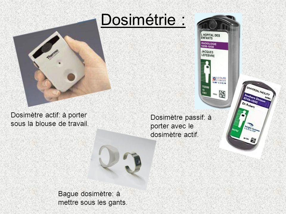 Dosimétrie : Dosimètre actif: à porter sous la blouse de travail. Dosimètre passif: à porter avec le dosimètre actif. Bague dosimètre: à mettre sous l