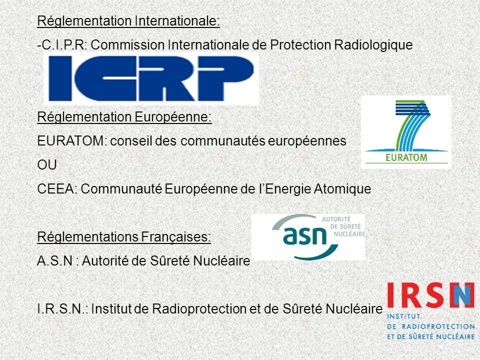 Réglementation Internationale: -C.I.P.R: Commission Internationale de Protection Radiologique Réglementation Européenne: EURATOM: conseil des communau