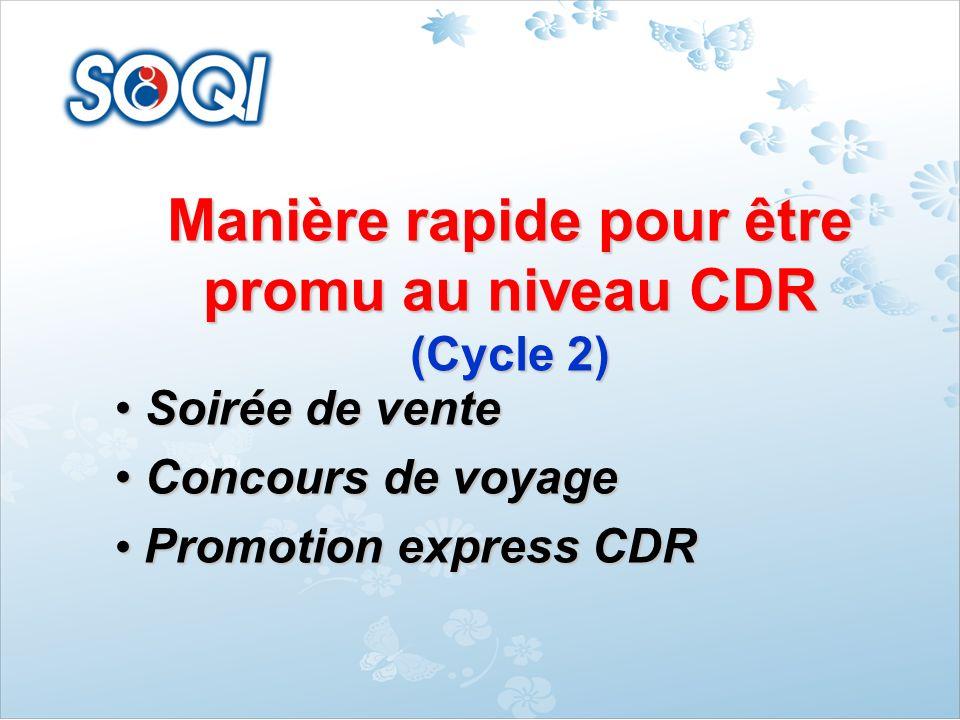 Manière rapide pour être promu au niveau CDR (Cycle 2) Soirée de vente Soirée de vente Concours de voyage Concours de voyage Promotion express CDR Pro