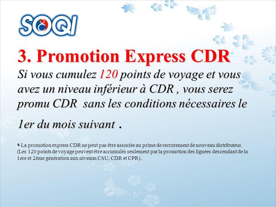 3. Promotion Express CDR Si vous cumulez120 points de voyage et vous avez un niveau inférieur à CDR, vous serez promu CDR sans les conditions nécessai