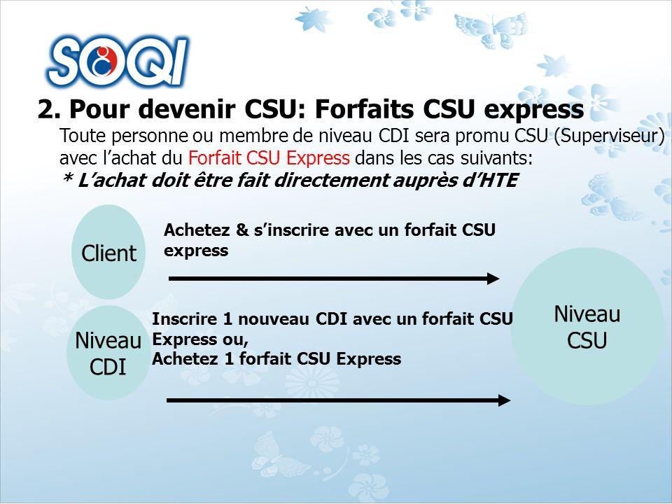 2. Pour devenir CSU: Forfaits CSU express Toute personne ou membre de niveau CDI sera promu CSU (Superviseur) avec lachat du Forfait CSU Express dans